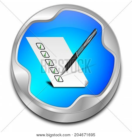 glossy blue Button with check list - 3D illustration