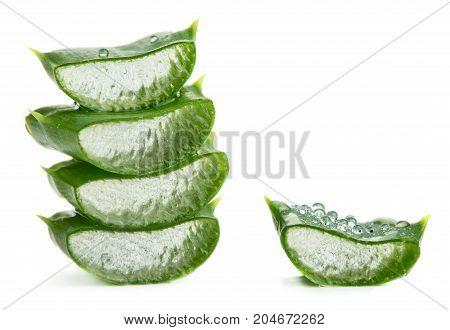 Slices of aloe vera isolated on white background