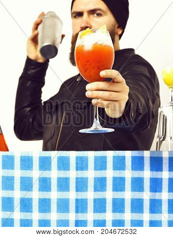 Hand Of Man Holding Alcoholic Beverage Or Fresh Cocktail