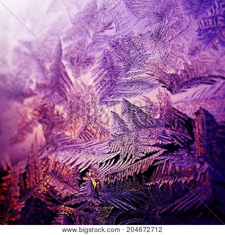 Frosty cold pattern at a winter window glass