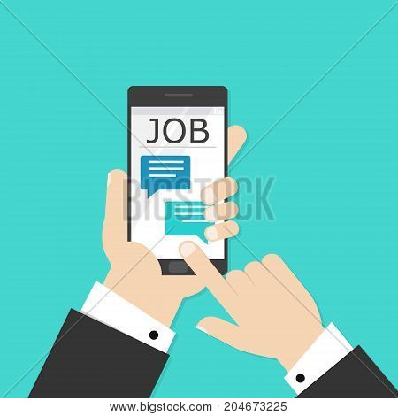 Job searching online concept. Hand holding phone and magnifying glass. Flat style