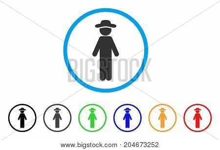 Standing Gentleman rounded icon. Style is a flat standing gentleman gray symbol inside light blue circle with black, gray, green, blue, red, orange variants.