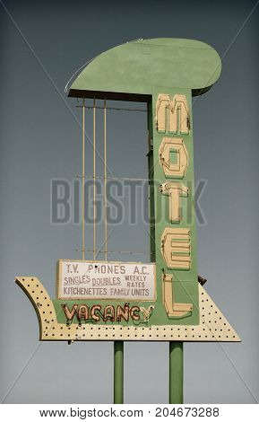 Retro look vintage motel sign.  Route 66 nostalgia.