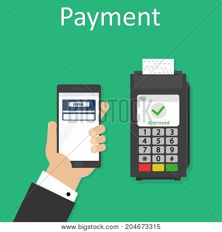 Wireless payment with mobile phone and terminal illustration, flat style smartphone in hand with credit card on display and fingerprint processed successful pay on nfc, contactless buy tech image