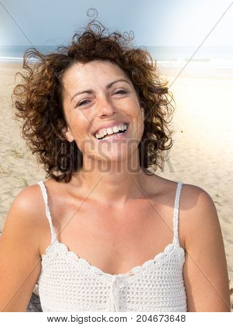a Portrait of beautiful 40-year-old smiling woman