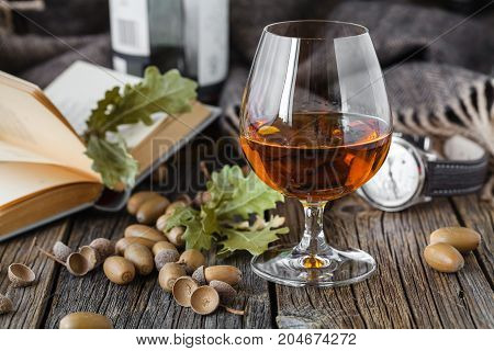 Glass Oа Amber Color Whisky In Glass On Oak Table
