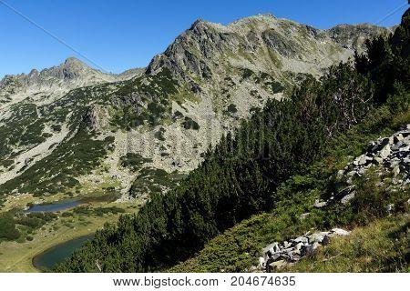 Amazing landscape with Prevalski lakes, Dzhangal and Valyavishki chukar peaks, Pirin Mountain, Bulgaria