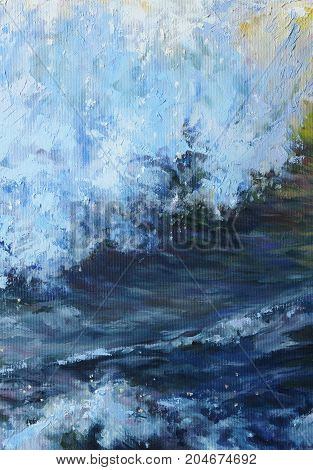 blue sea wave with white foam - ocean tide painted with oil (detailed canvas texture)