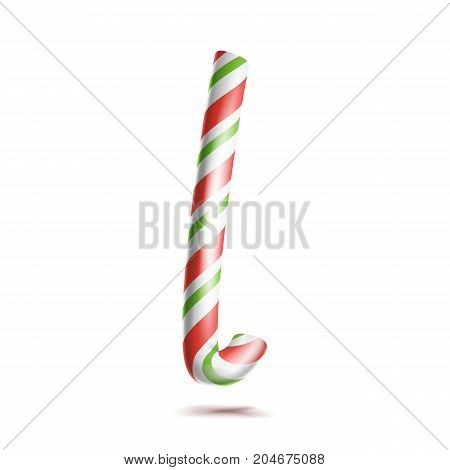 Letter L Vector. 3D Realistic Candy Cane Alphabet Symbol In Christmas Colours. New Year Letter Textured With Red, White. Typography Template. Striped Craft Isolated Object. Xmas Art
