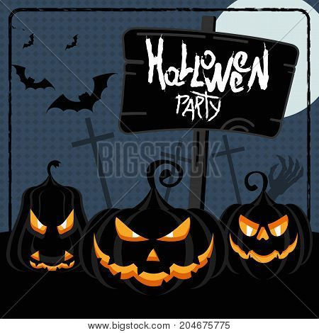Halloween Party Blue Poster