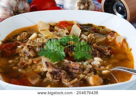 Georgian cuisine hot soup kharcho on table