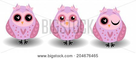 A Set Of Three Lovely Owls-girls In Pink Tones In Hearts, With Bows On The Ears And Different Eyes