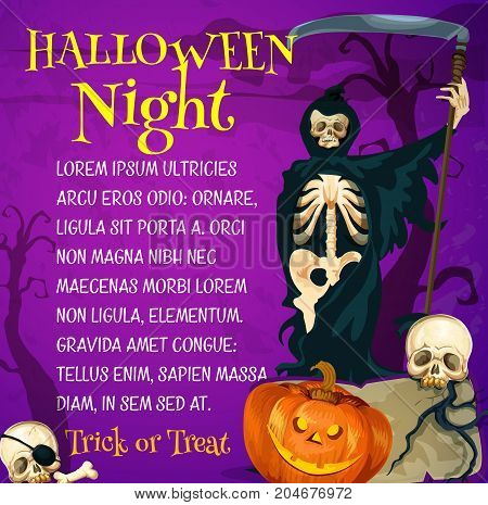 Halloween holiday trick or treat night poster. Halloween pumpkin lantern and grim reaper or death in hooded cape banner template with spooky skeleton skull on grave stone for horror party design