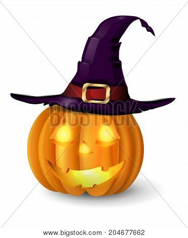 Scary Jack O Lantern halloween pumpkin with candle light inside and witch hat vector