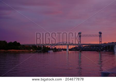 Railway Bridge At Sunset, Pink Sky, Rostov-on-don