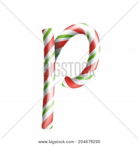 Letter P Vector. 3D Realistic Candy Cane Alphabet Symbol In Christmas Colours. New Year Letter Textured With Red, White. Typography Template. Striped Craft Isolated Object. Xmas Art