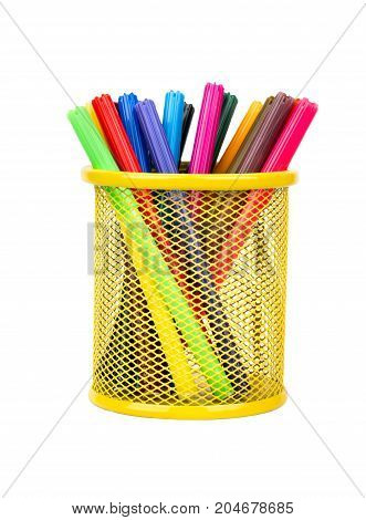 Multicolored Markers In Basket
