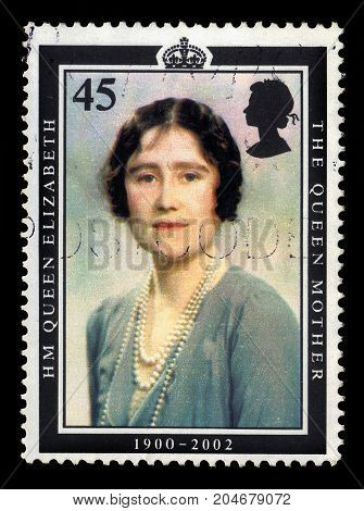 UNITED KINGDOM - CIRCA 2002: A stamp printed in UK shows portrait of Queen Elizabeth the Queen Mother, Duchess of York, series, circa 2002