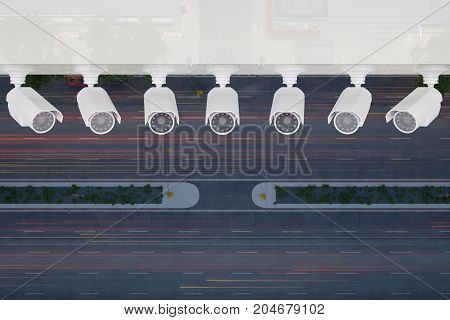 row video cameras over the night city street top view. 3d rendering