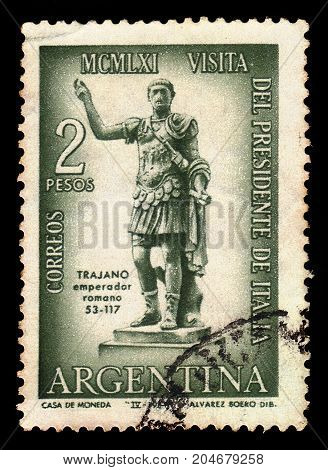 ARGENTINA - CIRCA 1961: a stamp printed in the Argentina shows statue of the roman emperor Trajan, dedicated to the visit of the italian president Giovanni Gronchi, circa 1961