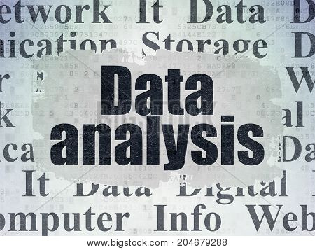 Data concept: Painted black text Data Analysis on Digital Data Paper background with   Tag Cloud