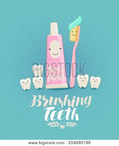 Brushing teeth, banner. Tooth, toothpaste toothbrush dentistry dental clinic concept