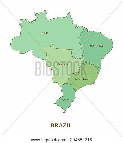 Brazil regions, green vector province geography background
