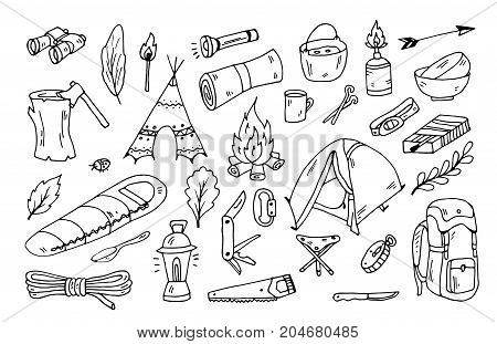 hiking and tourism doodle vector set, adventure background