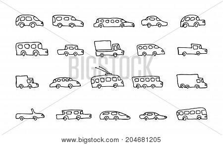 doodle transport car icons vector set, vehicle background