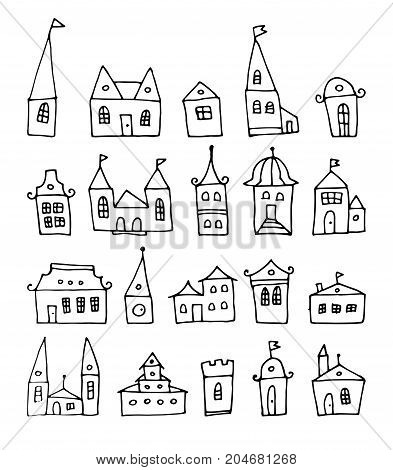 fantasy doodle houses, vector set, cartoon buildings background