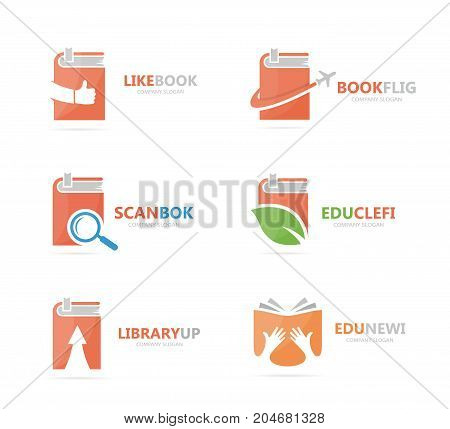 Set of book logo combination. Bookstore and library symbol or icon. Unique study and education logotype design template.