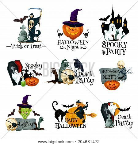 Happy Halloween icon of october holiday horror night party symbol. Halloween pumpkin in witch hat, spooky ghost, house and bat, skeleton skull, black cat, zombie and grave for Halloween emblem design