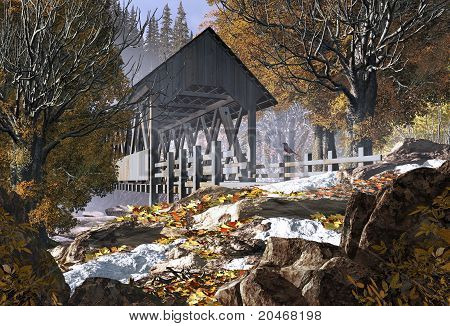 Old Covered Bridge And Robin