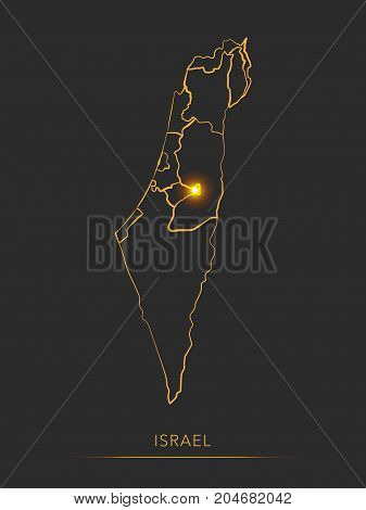 Golden region map, Israel districts vector background