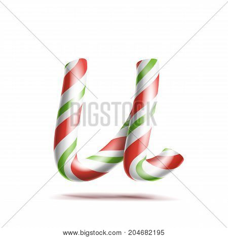 Letter U Vector. 3D Realistic Candy Cane Alphabet Symbol In Christmas Colours. New Year Letter Textured With Red, White. Typography Template. Striped Craft Isolated Object. Xmas Art
