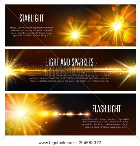 Light flash sparkles and starlight shine banners set. Vector set of sparkling sun beams with lens flare effect and spotlight rays of glittering sunlight with golden shiny bokeh blur