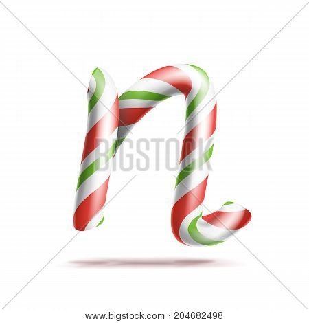 Letter N Vector. 3D Realistic Candy Cane Alphabet Symbol In Christmas Colours. New Year Letter Textured With Red, White. Typography Template. Striped Craft Isolated Object. Xmas Art
