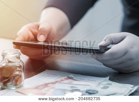Online Banking And Internet Banking And Networking People Concept