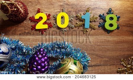 Happy New Year 2018 on nature concept, wood number idea