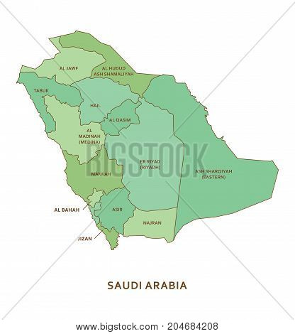 Saudi Arabia regions, green vector province geography background