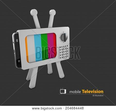 Gray Classic Tv And Smart Phone, Colorful No Signal Background, 3D Illustration