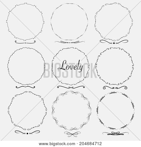 Vector Set Of Dividers Round Frames For Decoration. Handmade Vector Illustration.