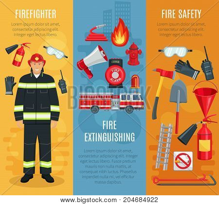 Fire extinguishing or firefighting and fire safety banners set. Vector design of firefighter tools engine truck, extinguisher or alarm and ladder or spade, hydrant hose and hammer with water bucket