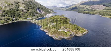 Aerial view of Ardchattam and Bonawe seen from Loch Etive, Argyll, Scotland