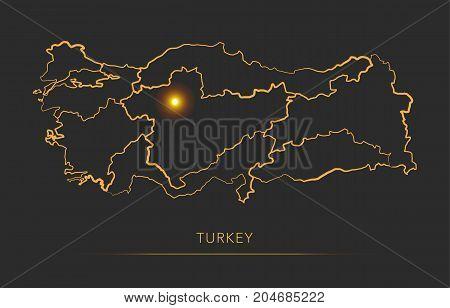 Golden region map, Turkey district vector background