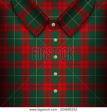 Folded Plaid Shirt. The symbol for accuracy and fashion. Traditional Scotland plaid texrure. Design element for store and retail. Editable Vector illustration