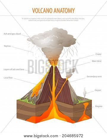 Volcano cross section, education poster vector illustration
