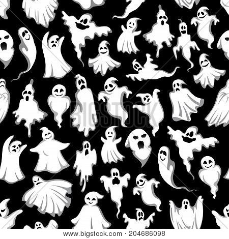 Halloween ghost pattern for trick or treat holiday or party night. Vector seamless backdrop of spooky white ghosts or happy evil monsters flying on black for 31 October Halloween celebration