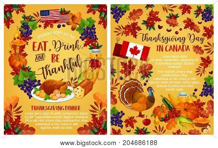 Thanksgiving day invitation poster with Canadian flag. Vector design of traditional holiday turkey and fruit pie, pumpkin, corn or fruit harvest, maple or rowan leaf for Thanksgiving design