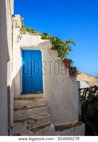 Greece Cycladic island.Traditional entrance of a house